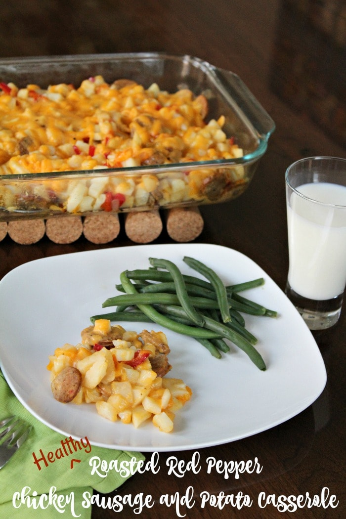 Roasted Red Pepper Chicken Sausage and Potato Casserole