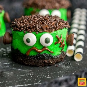 Mini Halloween Cheesecakes - Frankenstein Cakes